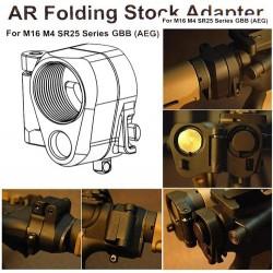 Folding Stock AR Adapter M16 M4 SR25 Series GBB Adattatore Calcio Pieghevole per Airsoft Elettriche o GBB