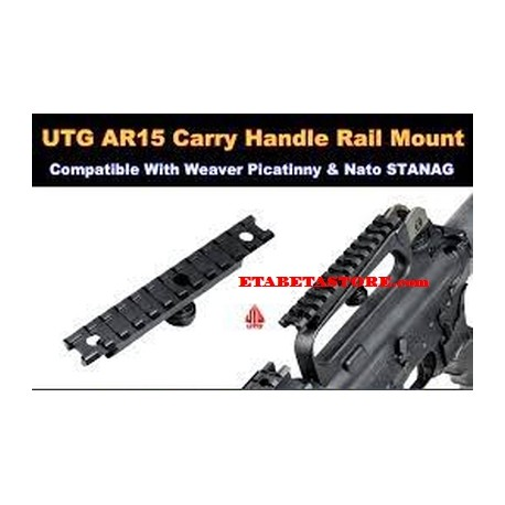 UTG AR15 Carry Handle Rail Mount, 12 Slots, STANAG, Solid machined construction